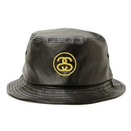Черная кожаная панама Stussy c золотым лого